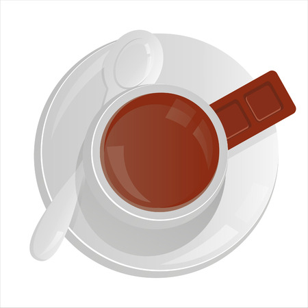 cute chocolate: coffee cup isolated on white