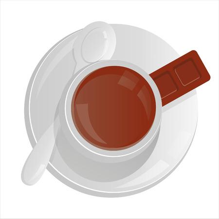 chocolate caliente: taza de caf� aislado en blanco