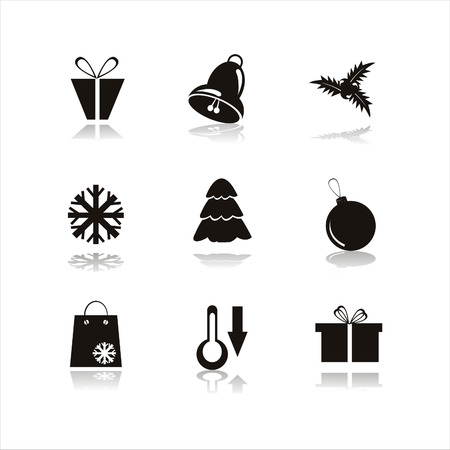 set of 9 black christmas icons Vector