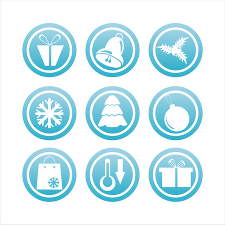 set of 9 blue christmas signs Vector