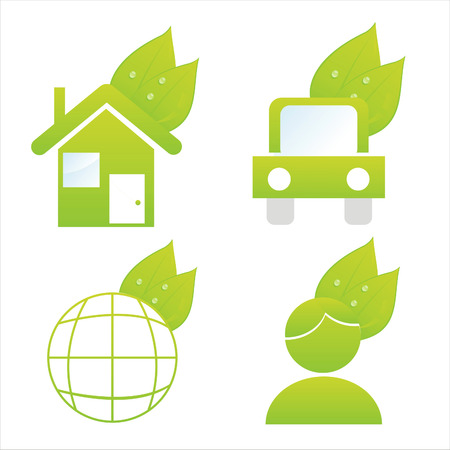 set of 4 ecological icons Vector