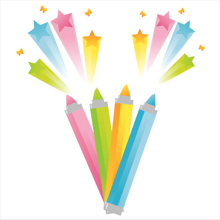 markers with star splash Stock Vector - 7854903