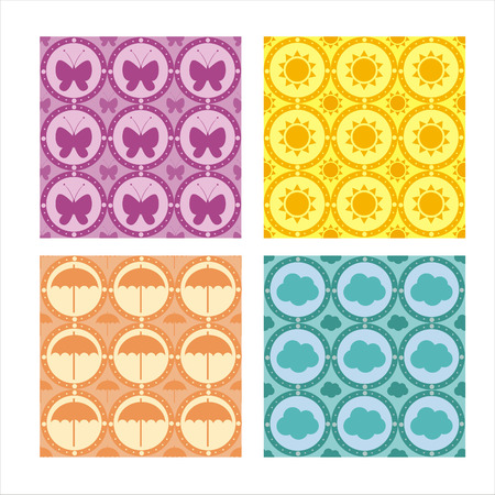 set of 4 cute patterns Vector
