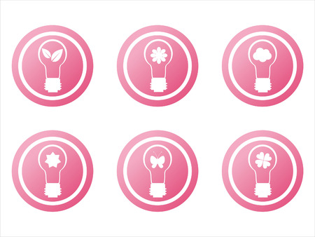 set of 6 pink eco lamp signs Stock Vector - 7880863