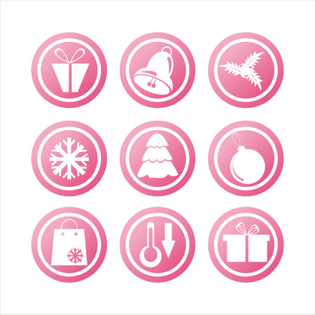set of 9 pink christmas signs Vector
