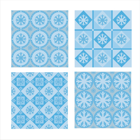 set of 4 cute winter patterns Vector