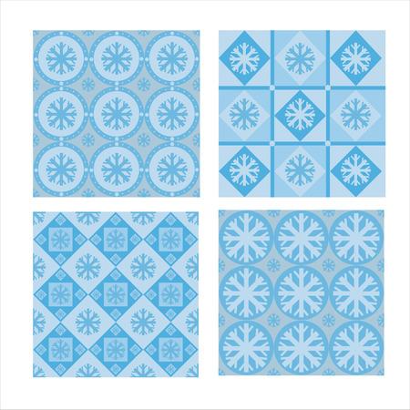 set of 4 cute winter patterns Vector