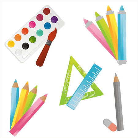 set of drawing tools icons Illustration