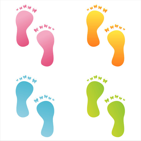 set of 4 colorful butterfly foot steps Vector