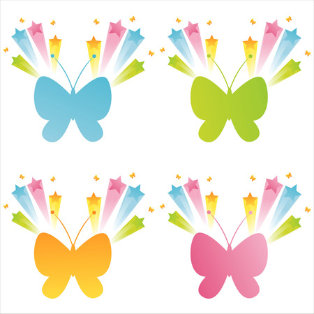 set of 4 butterflies with splashes Stock Vector - 7994412