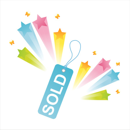 sold tag  with star splash Stock Vector - 8029701