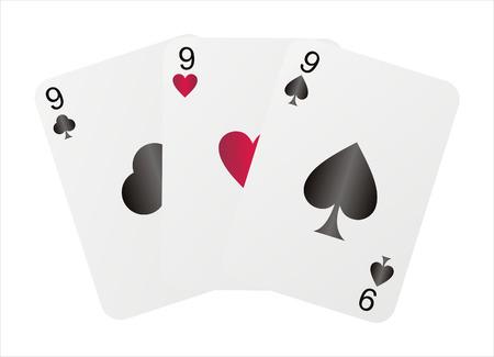nines: three nines isolated on white Illustration