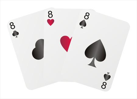 eights: tres ochos aislados en blanco