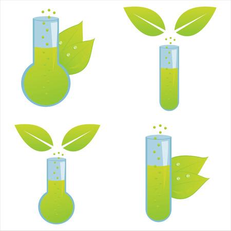 chemical plant: set of 4 ecological chemical bottles
