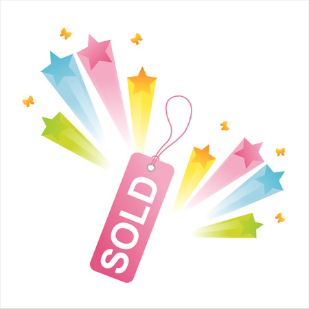sold tag with star splash Stock Vector - 8110776