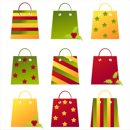 set of 9 christmas shopping bags Vector