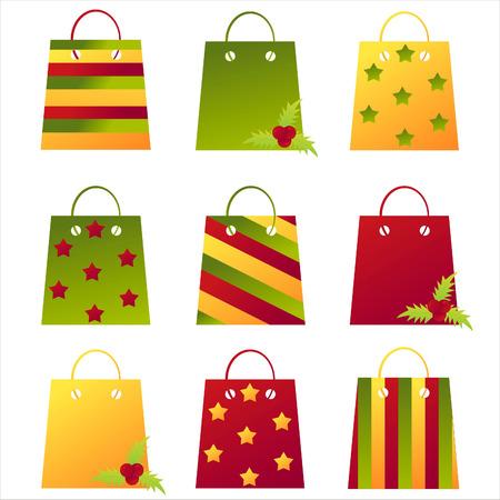 kerst markt: set van 9 christmas shopping tassen