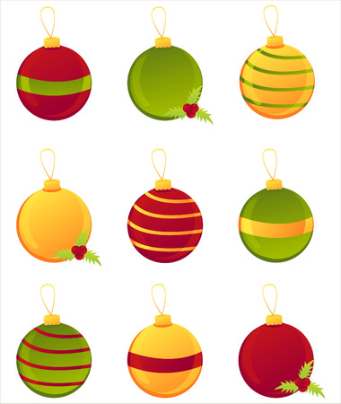 set of 9 glossy christmas balls Vector