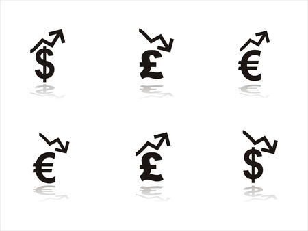set of 6 black finance icons Vector