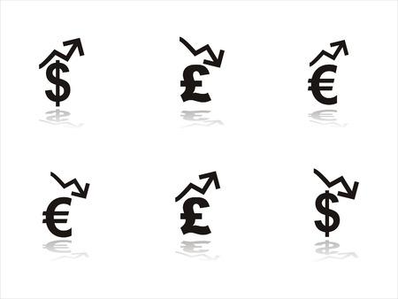 pound symbol: set of 6 black finance icons Illustration