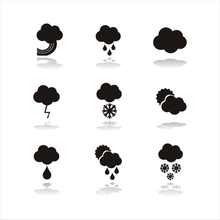 iconos del clima: conjunto de iconos de clima negro 9 Vectores