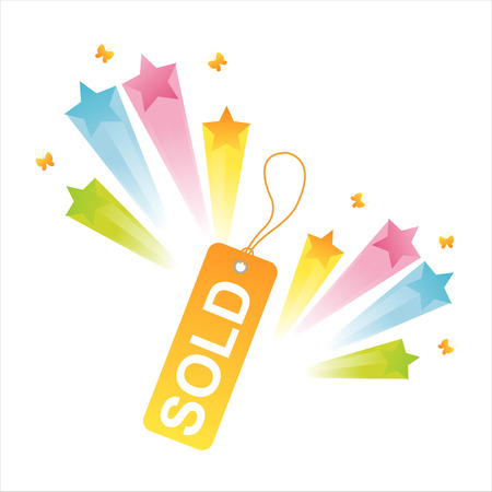 sold tag with star splash Stock Vector - 8127279