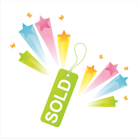 sale tag with star splash Stock Vector - 8189092