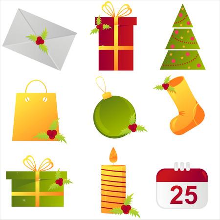 set of 9 christmas icons Vector