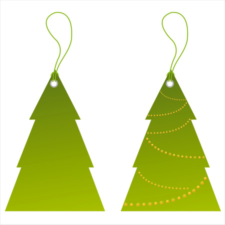 set of 2 christmas tree tags Stock Vector - 8286065