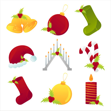 set of 9 christmas icons Vector