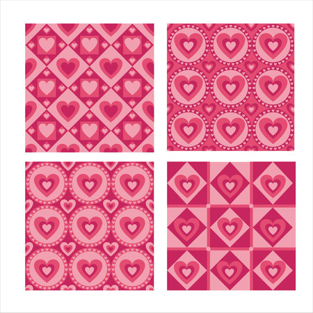 set of 4 cute hearts patterns