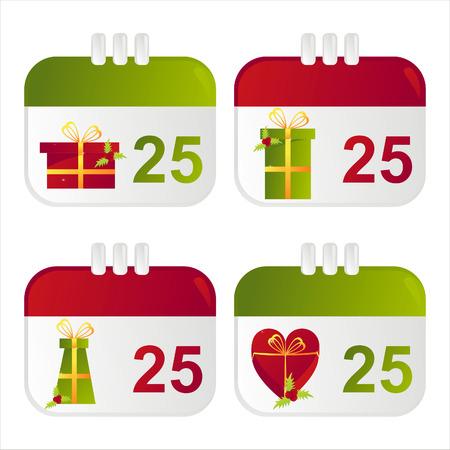 dates fruit: conjunto de iconos de calendario de Navidad 4 Vectores