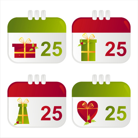 set of 4 christmas calendar icons Vector