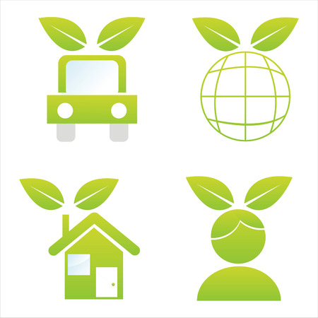set of 4 ecological icons