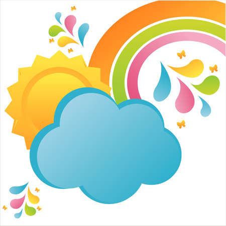 colorful cloud and sun background Vector