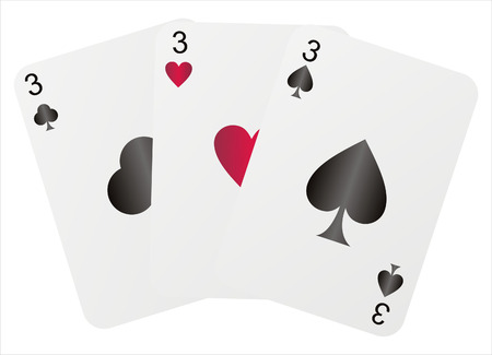 three threes isolated on white  イラスト・ベクター素材