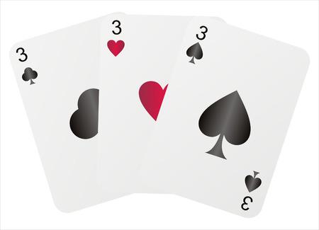 three threes isolated on white Illustration