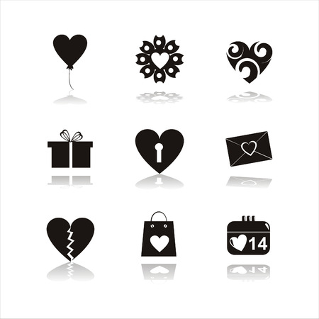 set of 9 black st. valentines day icons Vector