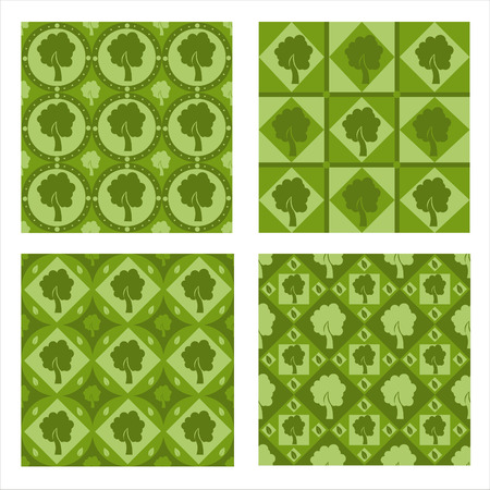set of 4 cute tree patterns Vector