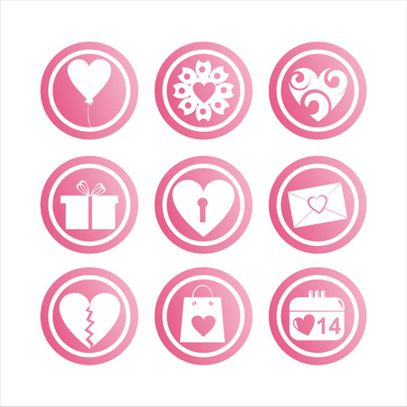 set of 9 pink st. valentines day signs Vector