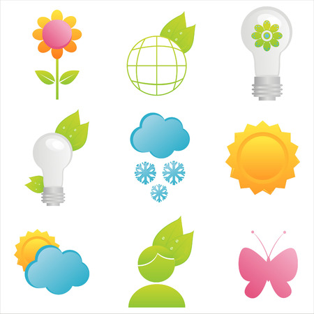 pink lamp: set of 9 nature icons
