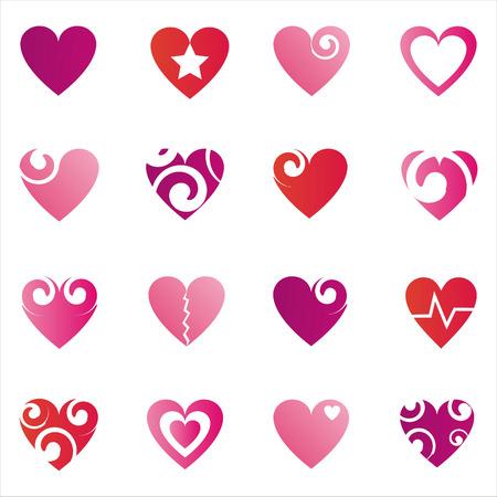 heart icon: set of 16 hearts icons Illustration