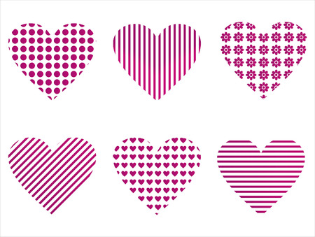 february 14th: set of 6 hearts icons