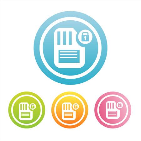 flash memory: set of 4 colorful flash memory signs