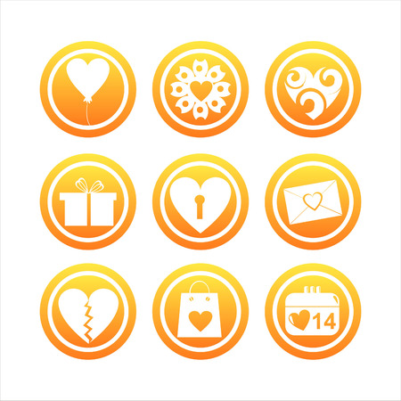 set of 9 orange st. valentines day signs Vector