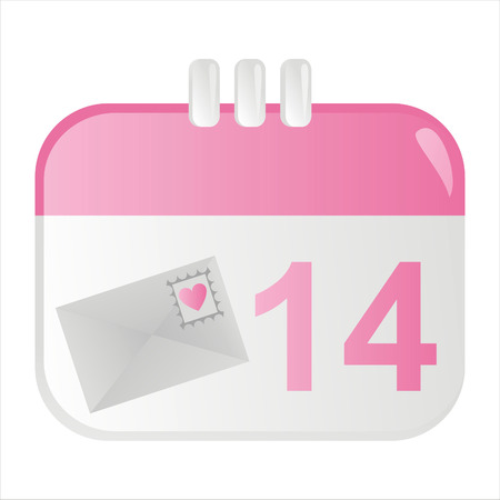 february 14th: st. valentines day calendar icon