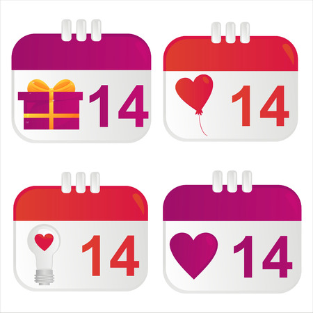 february 14th: set of 4 st. valentines day calendar icons