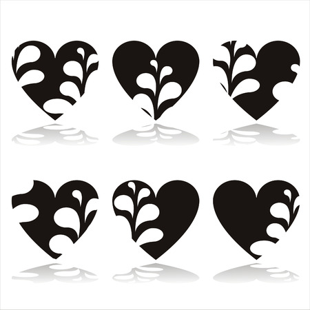 set of 6 stylish hearts Vector