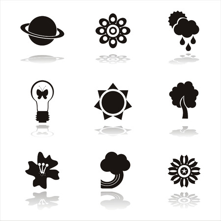 set of 9 black nature icons Vector