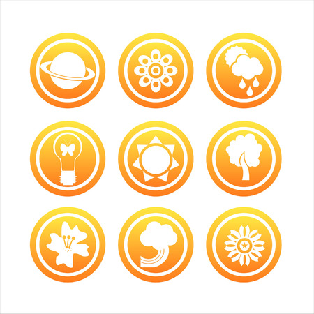 set of 9 orange nature signs Stock Vector - 8679289